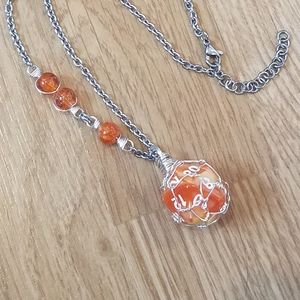 Orange Yellow Marbeled D20 Dice Stainless Choker